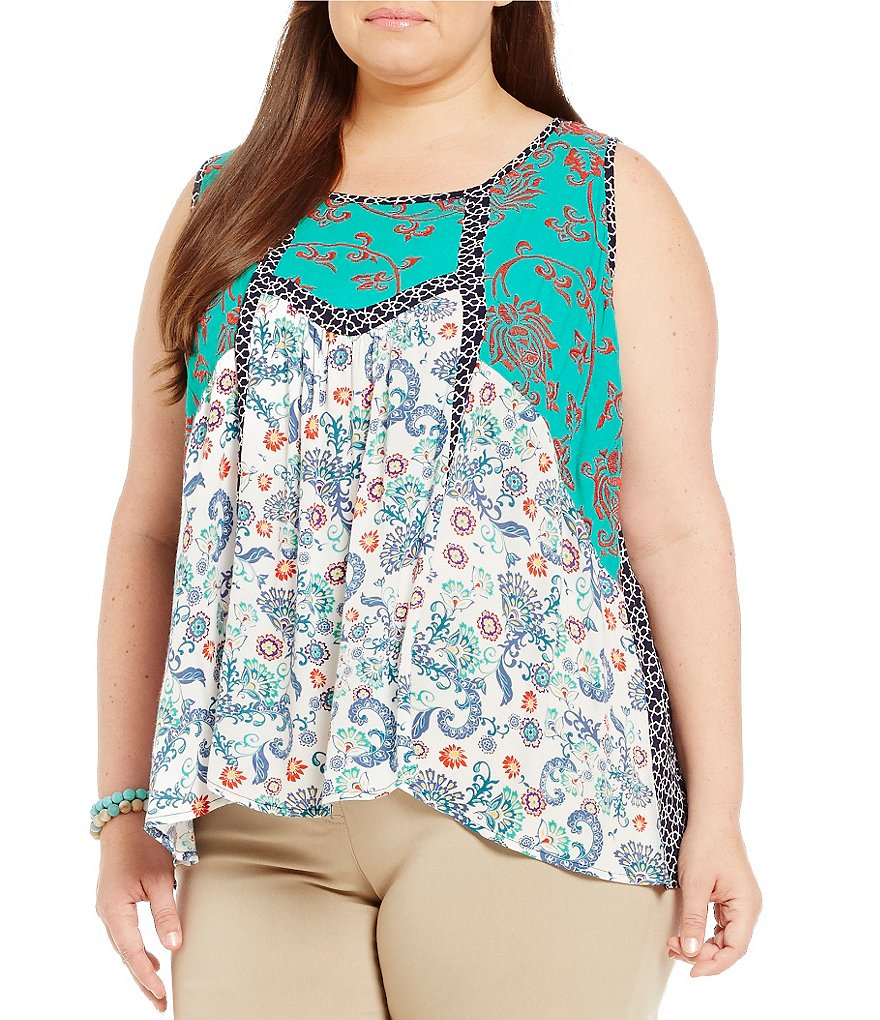 Westbound Plus Sleeveless Embroidered Peasant Top