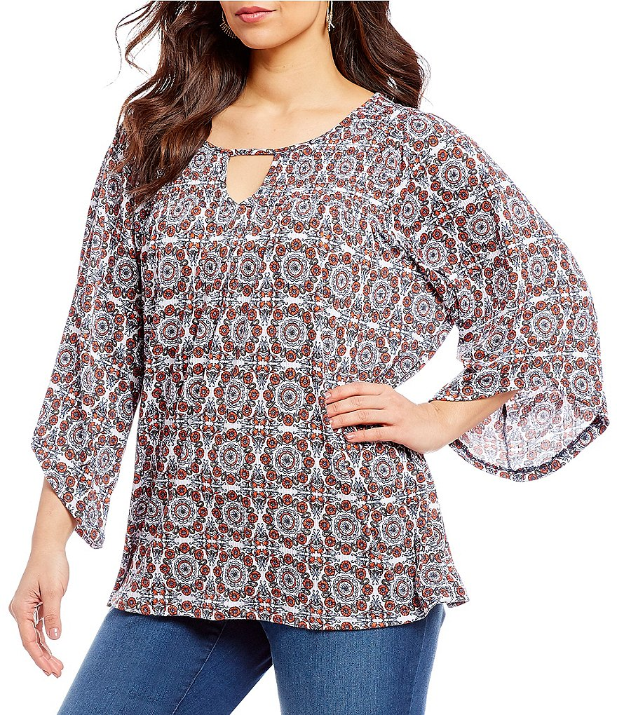 Westbound Plus Smocked Yoke 3/4 Sleeve Medallion Top