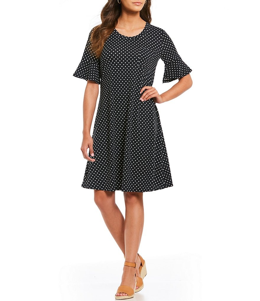 Westbound Polka Dot Bell Sleeve Dress