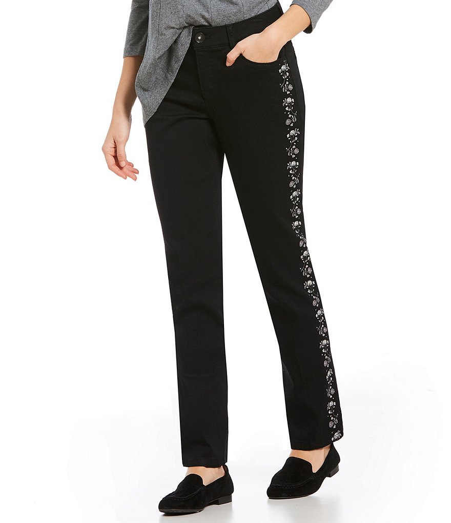 Westbound THE FIT FORMULA Slim Straight Leg Embroidered Pants