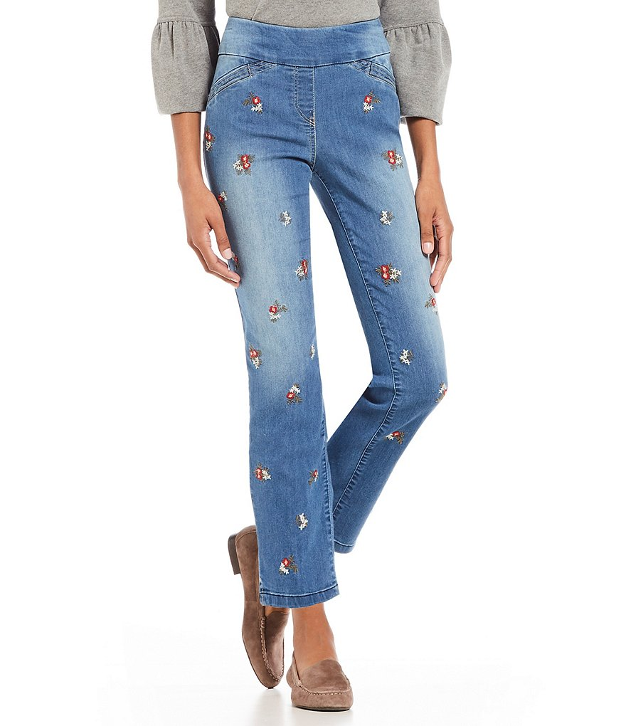 Westbound the PARK AVE fit Floral Embroidered Ankle Jeans