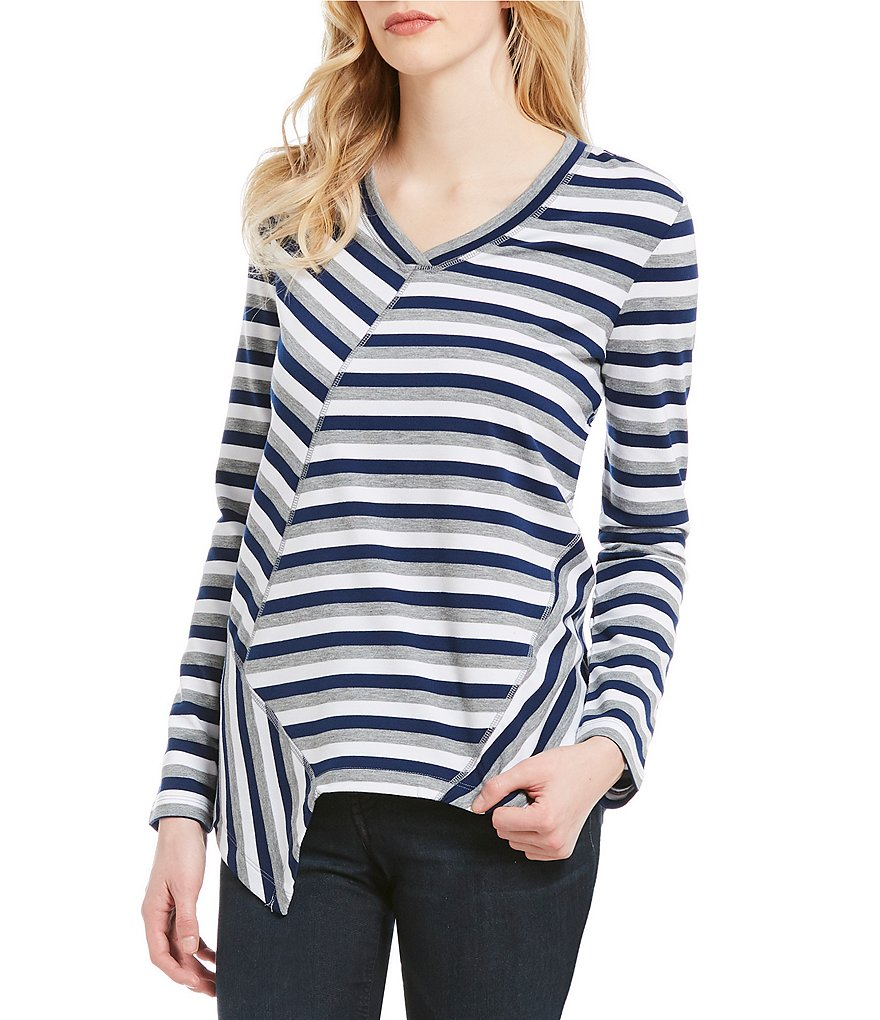 Westbound V-Neck Striped Pieced Tunic Top