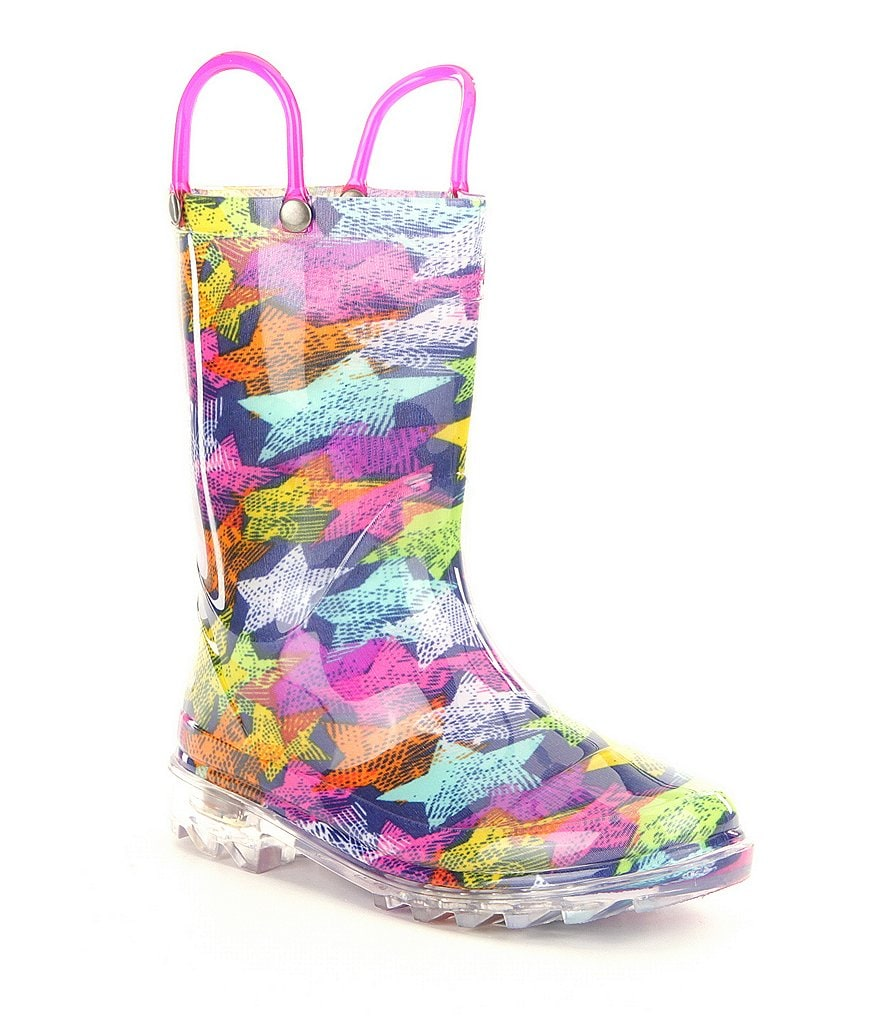 Western Chief Girls' Scribble Stars Lighted Rain Boots