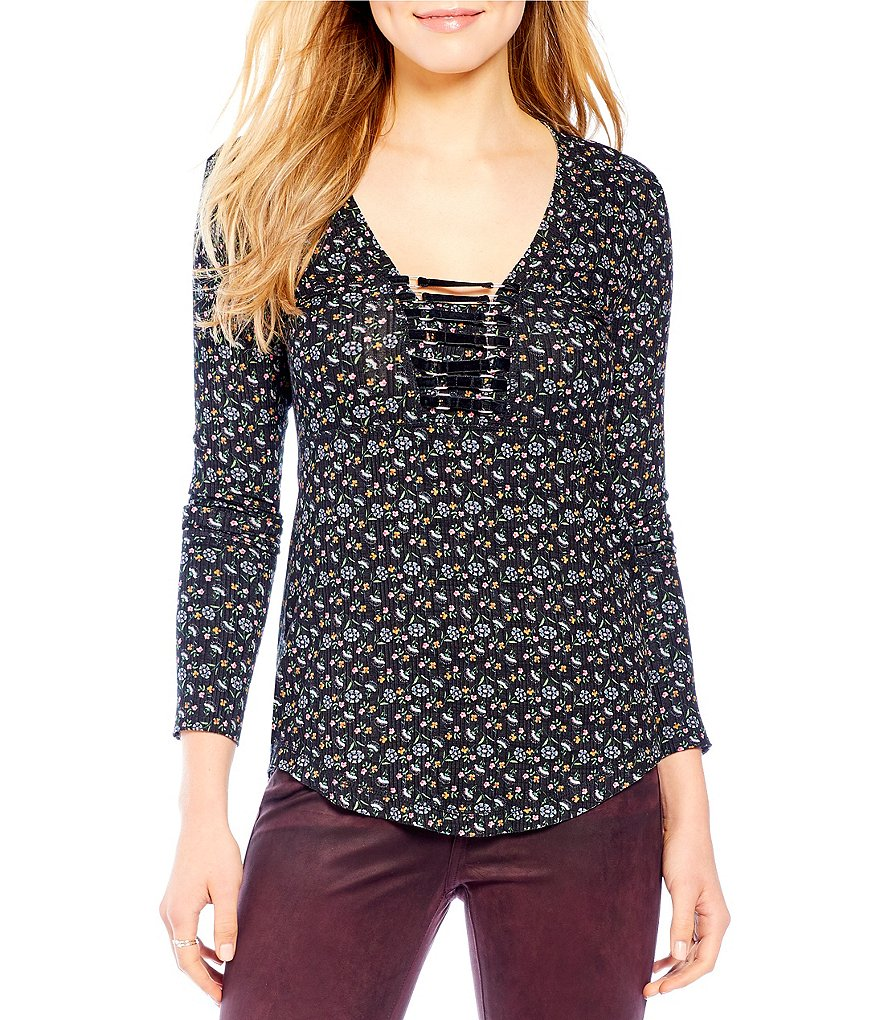 William Rast Adeline Printed Long Sleeve Top