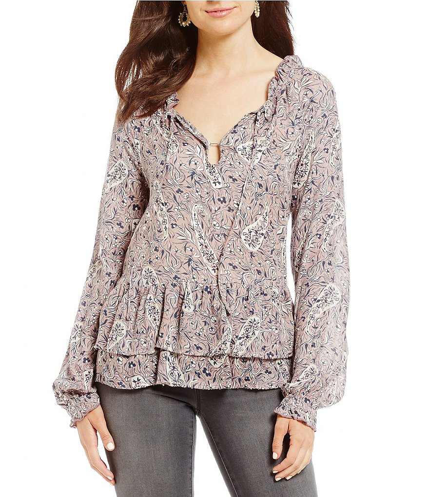 William Rast Aimee Paisley-Print Peasant Top
