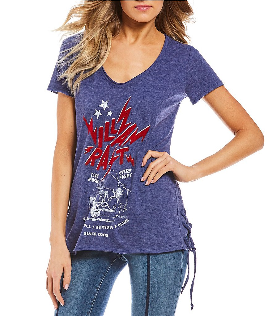 William Rast Carson Lace-Up Sides Short-Sleeve Graphic Tee