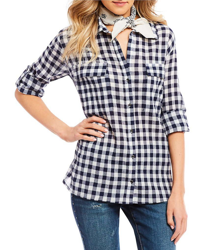 William Rast Dalila Gingham Button-Front Shirt