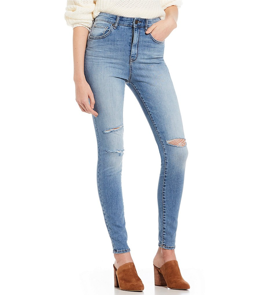 William Rast Destructed High Rise Skinny Jeans