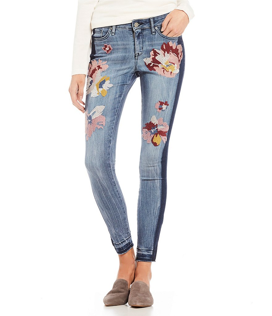 William Rast Embroidered Ankle Skinny Jeans
