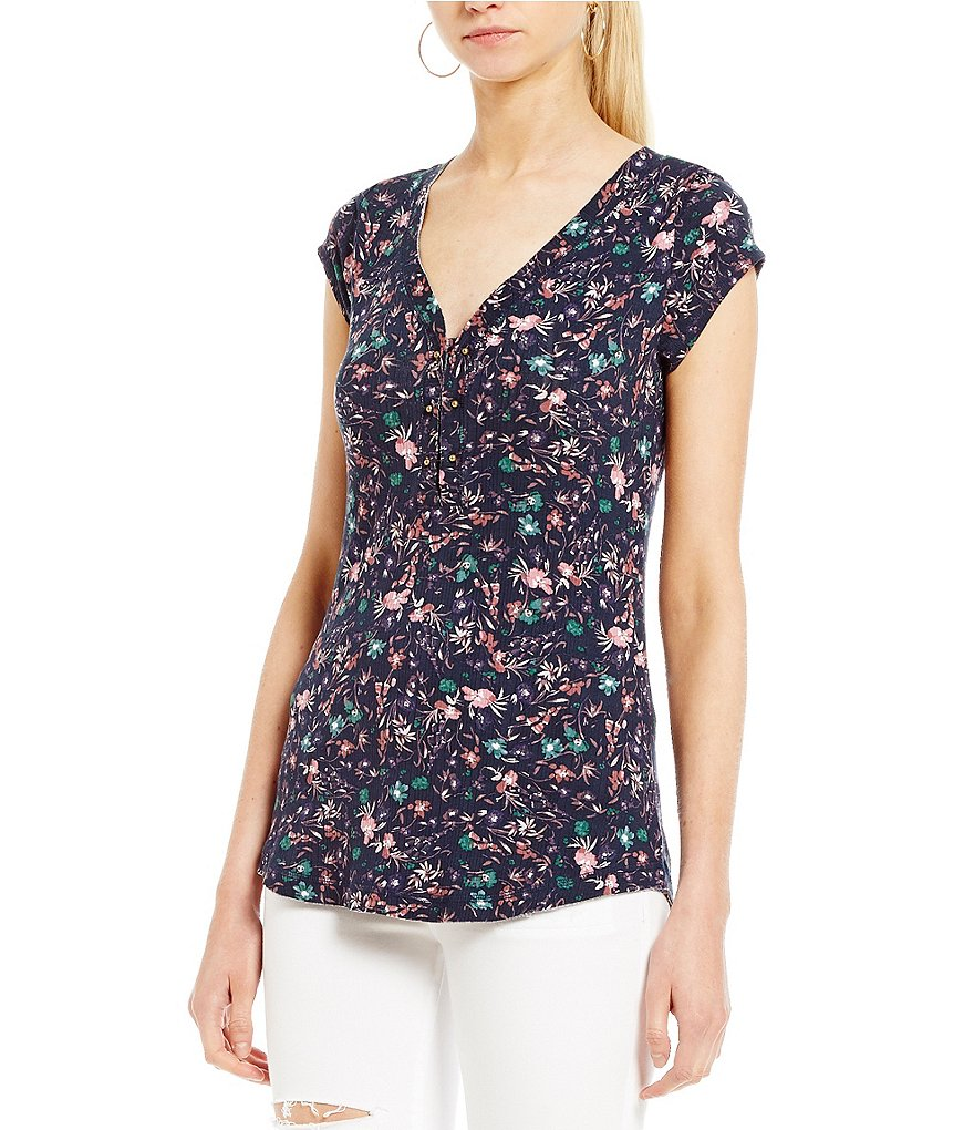 William Rast Floral Printed Gordon 2.0 Henley Top