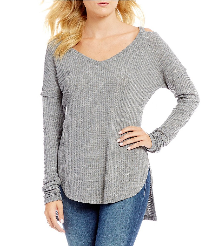 William Rast Ives Clavical Cut Out Long-Sleeve Thermal Top