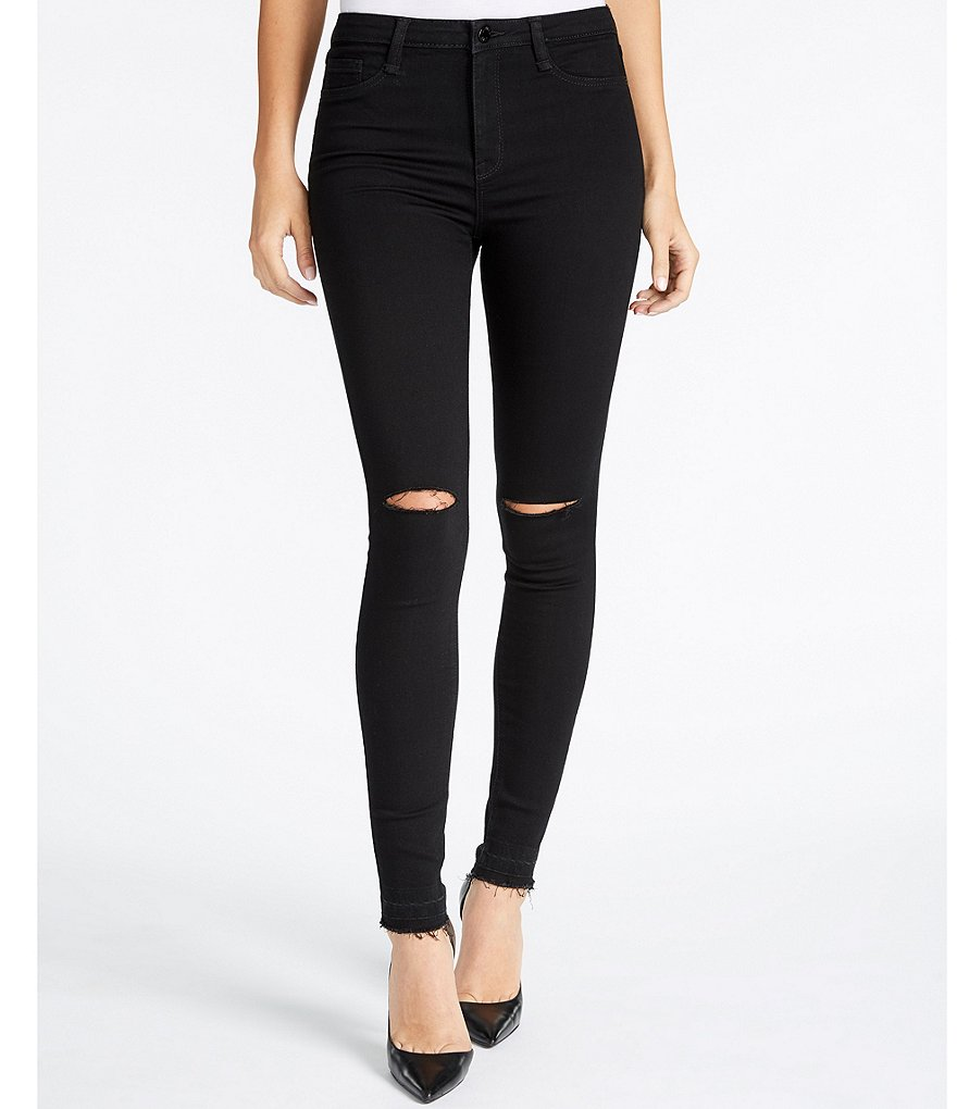 William Rast Sculpted High-Rise Slit Knee Skinny Jeans