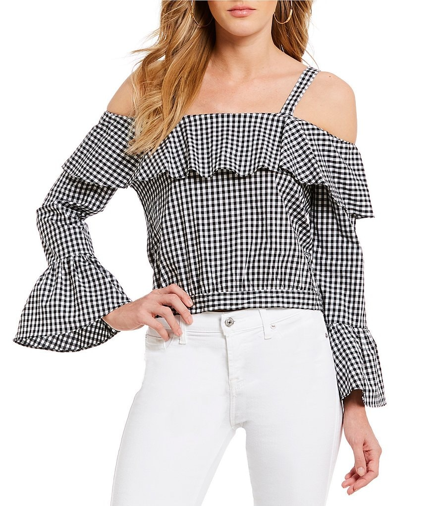 Willow & Clay Cold Shoulder Bell Sleeve Novelty Shirting Gingham Top