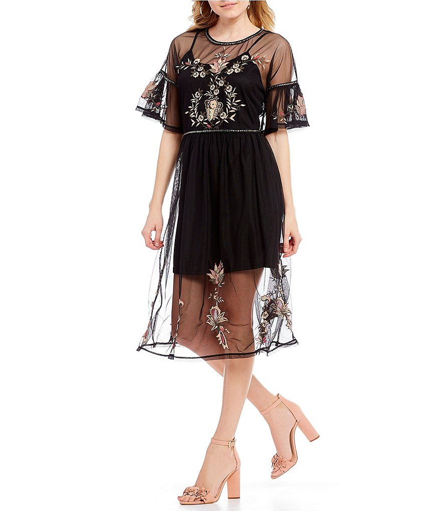 Willow & Clay Mesh Floral Embroidered Dress