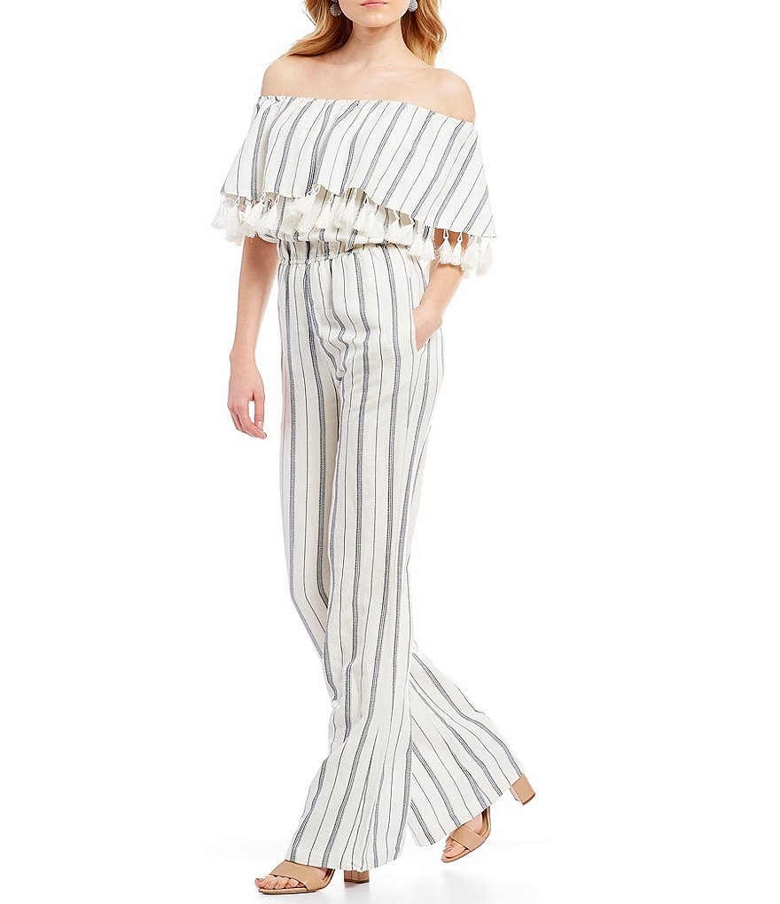 Willow & Clay Off the Shoulder Stripe Jumpsuit