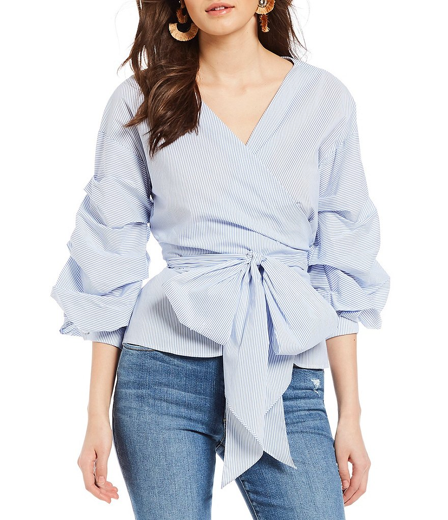 Willow & Clay Stripe Wrap Style Tie Front Balloon Sleeve Novelty Shirting Top