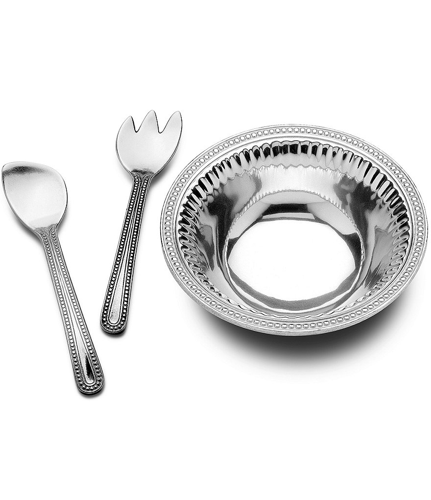 Wilton Armetale Flutes & Pearls 3-Piece Salad Set