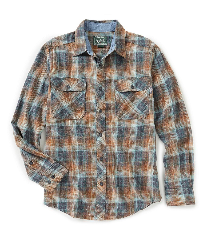 Woolrich miners wash flannel long sleeve woven shirt for How to wash flannel shirts
