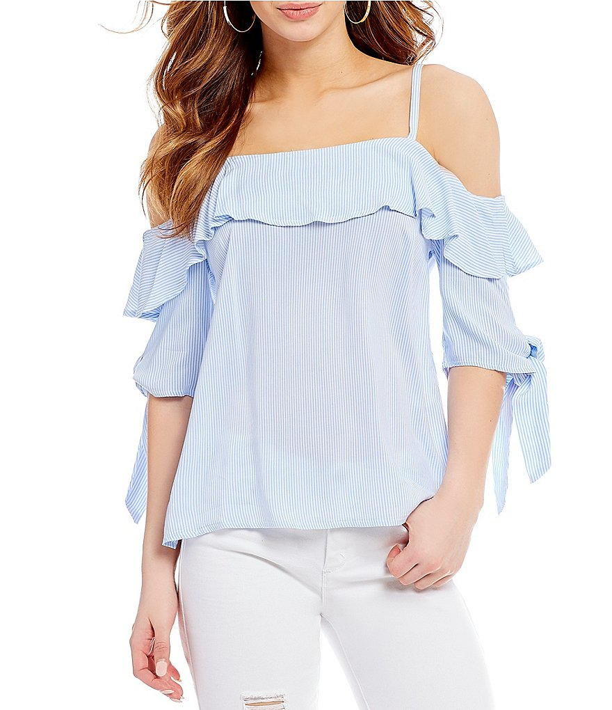 Wyldehart Cold-Shoulder Striped Top