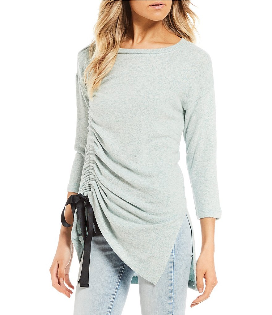 Wyldehart Cozy Ruched Bow 3/4 Sleeve Top