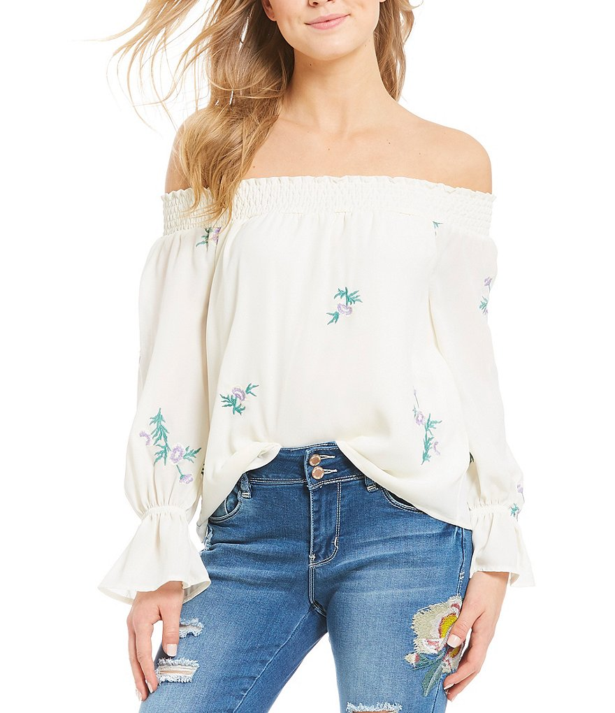 Wyldehart Embroidered Off-The-Shoulder Smocked Long Sleeve Top