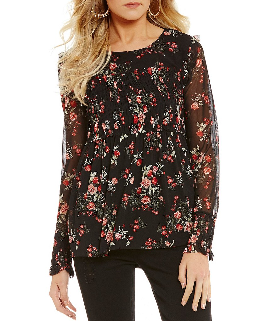 Wyldehart Floral Printed Mesh Smocked Ruffle Top