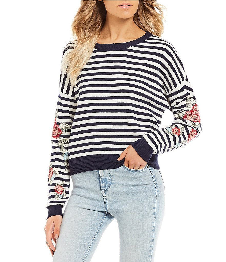 Wyldehart Stripe Embroidered Sweater