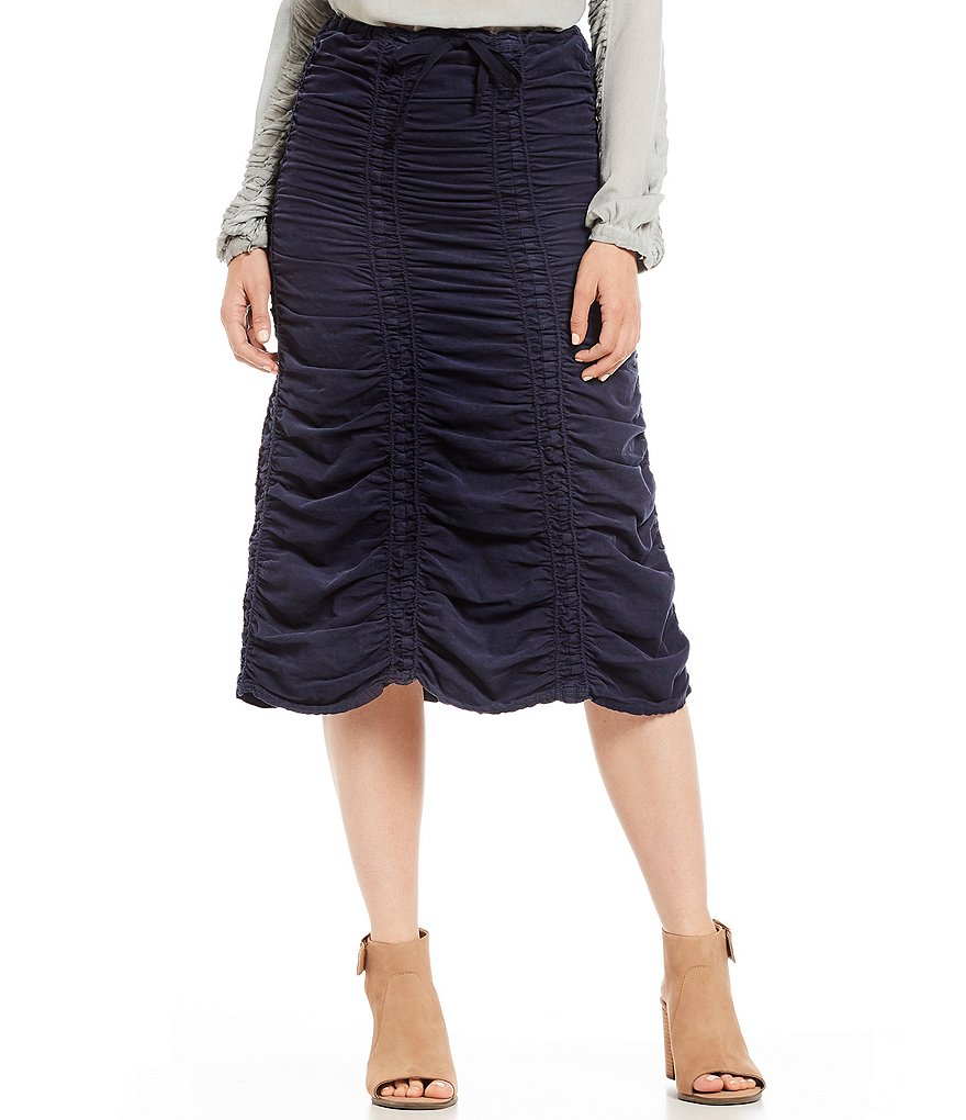 XCVI Corduroy Shirred Panel Skirt
