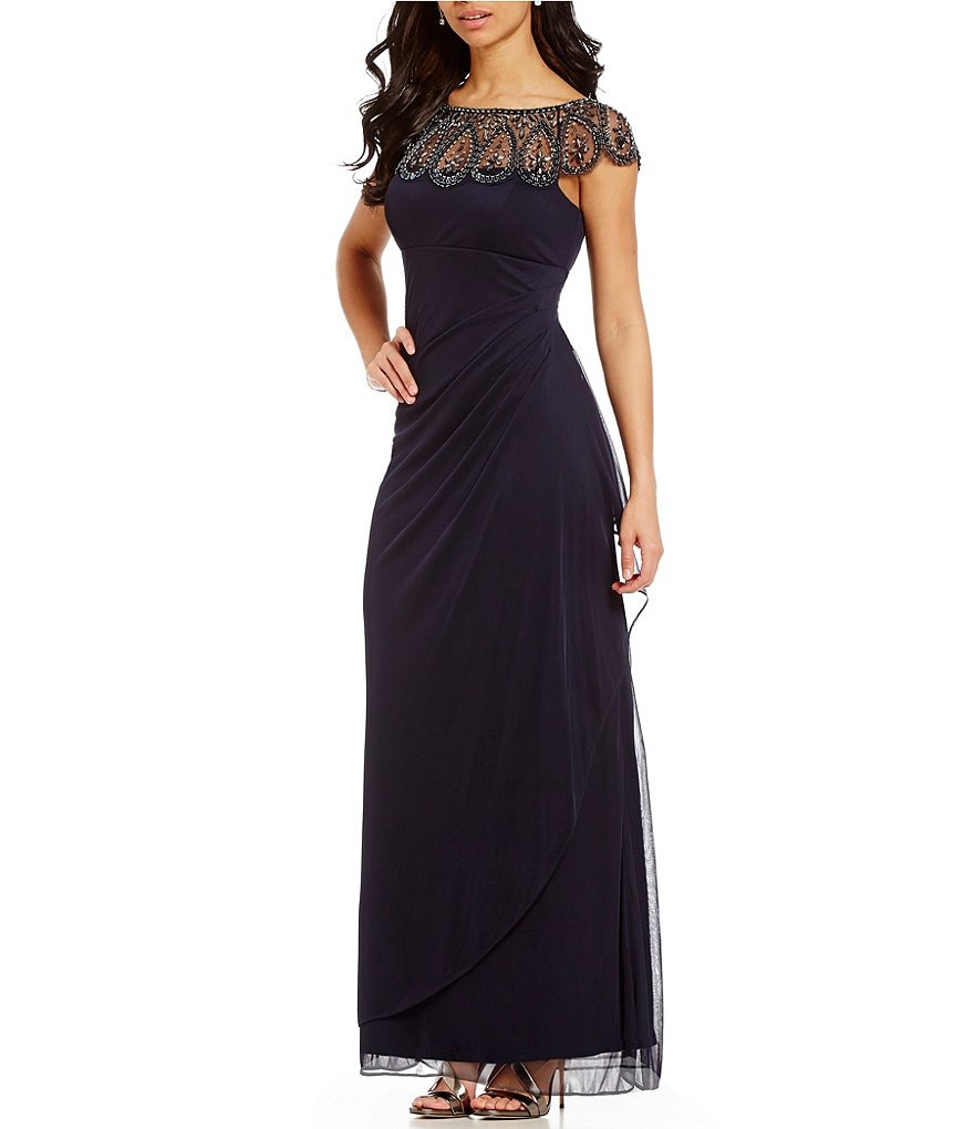 Xscape Beaded Illusion Neck Ruched Gown | Dillards