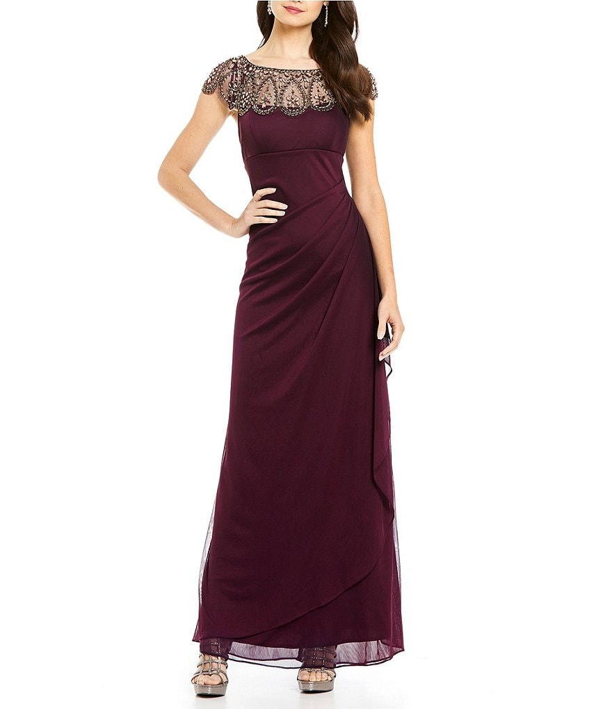 Xscape Beaded Illusion Neck Ruched Gown