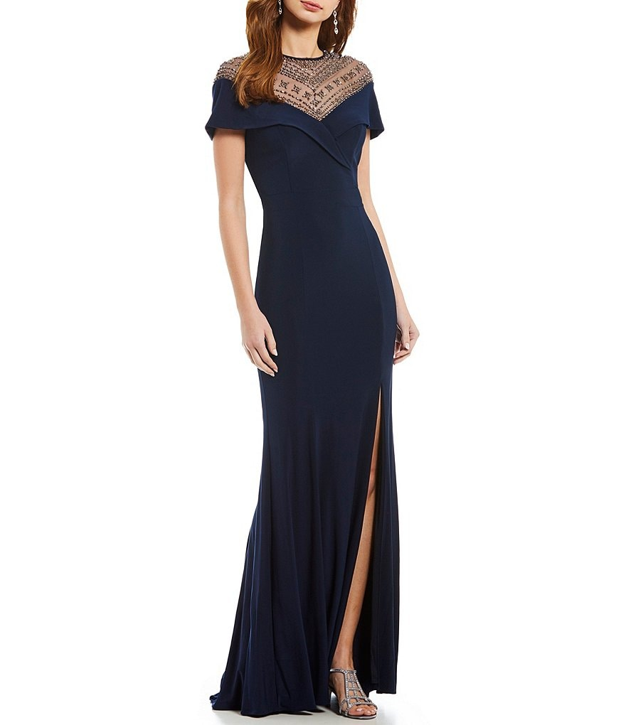 Xscape Beaded Sequin Illusion Top Gown | Dillards