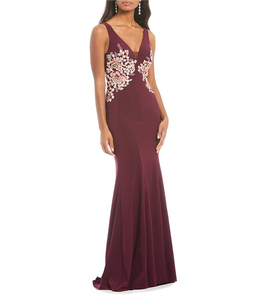 Xscape Deep V-Neck Side Embroidered Gown