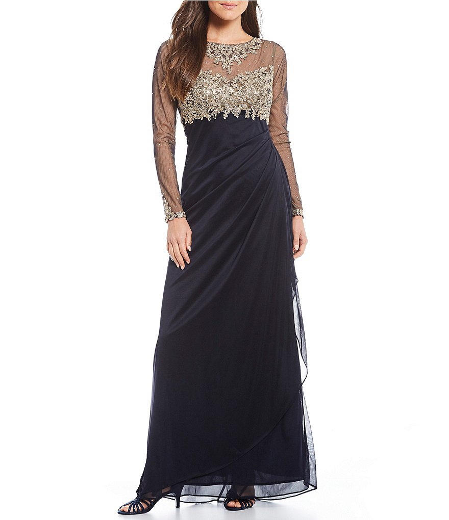 Xscape Long Sleeve Gold Embroidered Rouched Gown