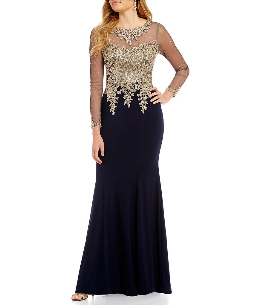 Xscape Long Sleeve Lace Applique Mermaid Gown | Dillards