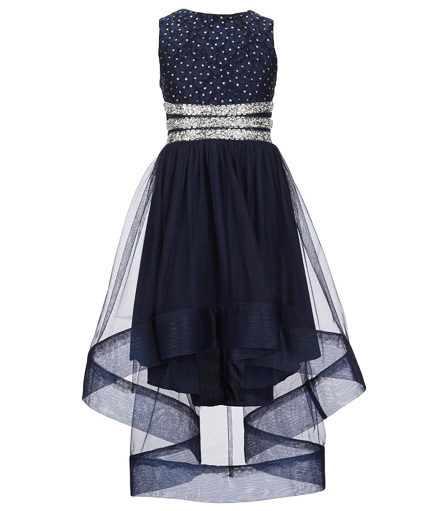 Xtraordinary Big Girls 7-16 Beaded-Lace/Tulle Fit-And-Flare Dress