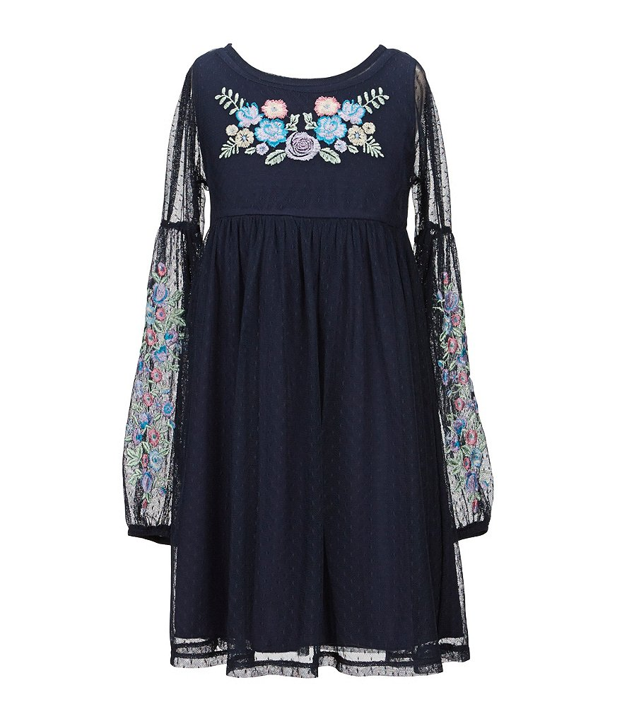Xtraordinary Big Girls 7-16 Blouson-Sleeve Embroidered Babydoll Dress