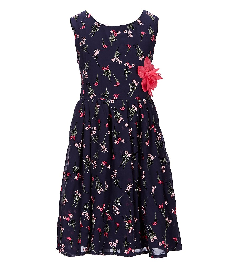 Xtraordinary Big Girls 7-16 Ditsy-Floral-Embroidered Fit-And-Flare Dress