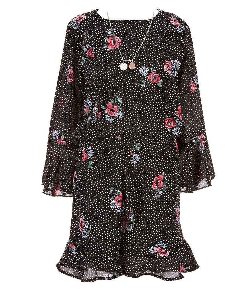 Xtraordinary Big Girls 7-16 Dotted Floral-Print Romper
