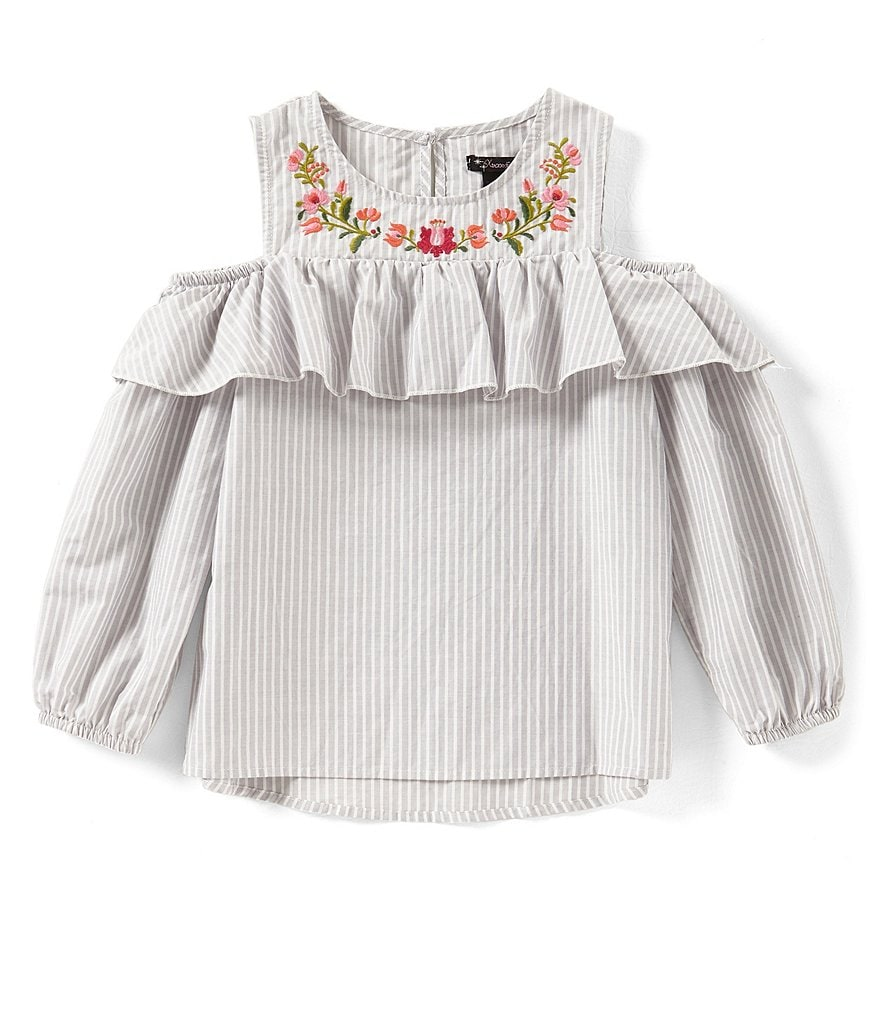 Xtraordinary Big Girls 7-16 Embroidered Cold-Shoulder Top
