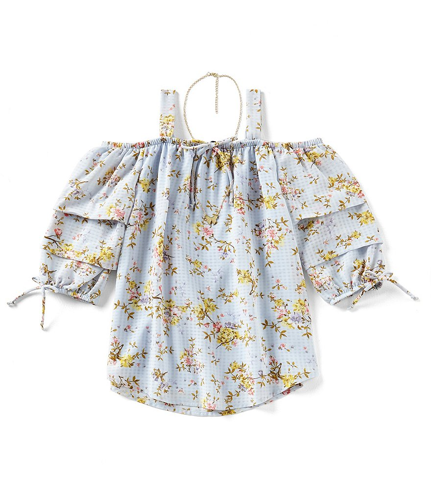 Xtraordinary Big Girls 7-16 Floral Cold-Shoulder Top