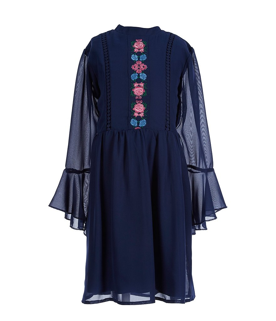 Xtraordinary Big Girls 7-16 Floral Embroidered A-Line Dress