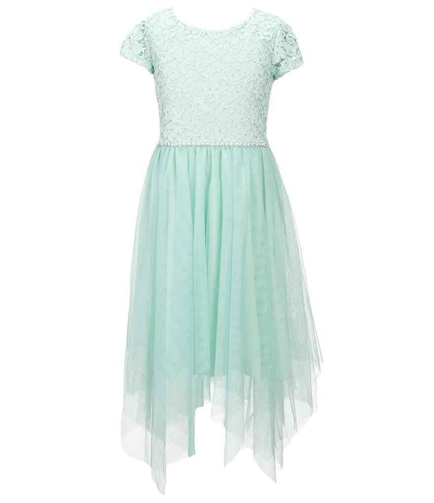 Xtraordinary Big Girls 7-16 Glitter-Dot Lace/Tulle Fit-And-Flare Dress