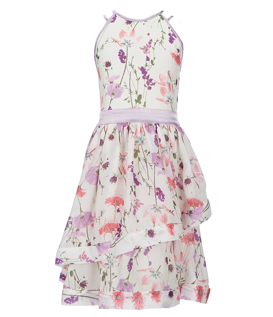 Xtraordinary Big Girls 7-16 Halter-Neck Floral-Printed Fit-And-Flare Dress