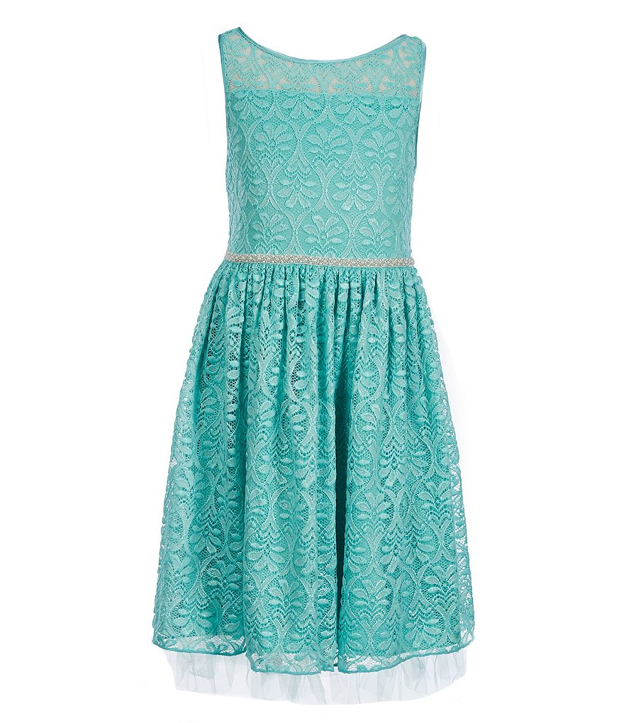 Xtraordinary Big Girls 7-16 Illusion Neck Lace Fit-And-Flare Dress