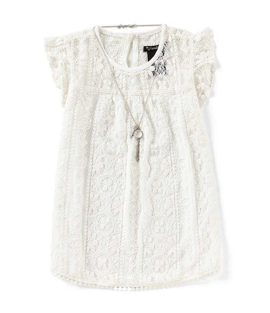 Xtraordinary Big Girls 7-16 Lace Flutter-Sleeve Top