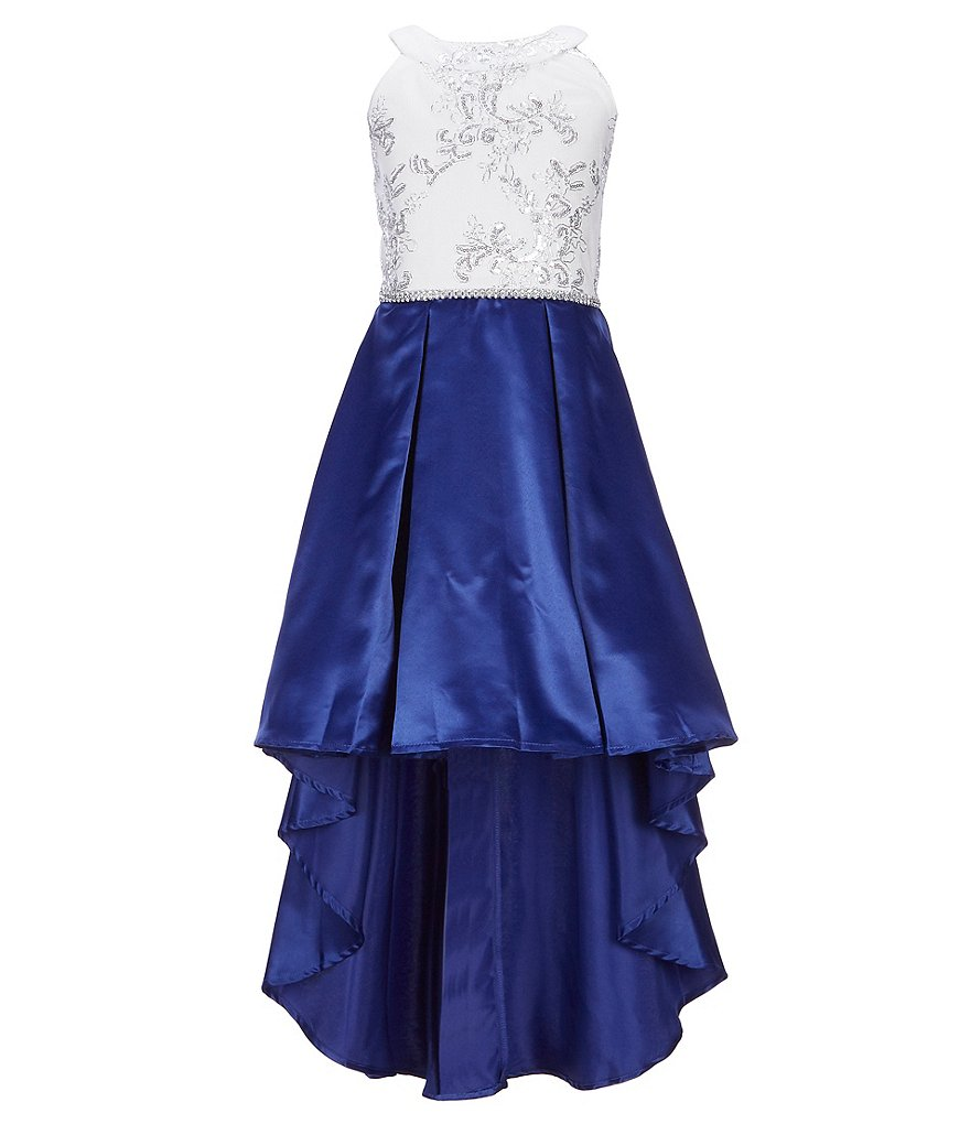 Xtraordinary Big Girls 7-16 Sequin-Embellished Embroidered/Shantung Hi-Low Dress