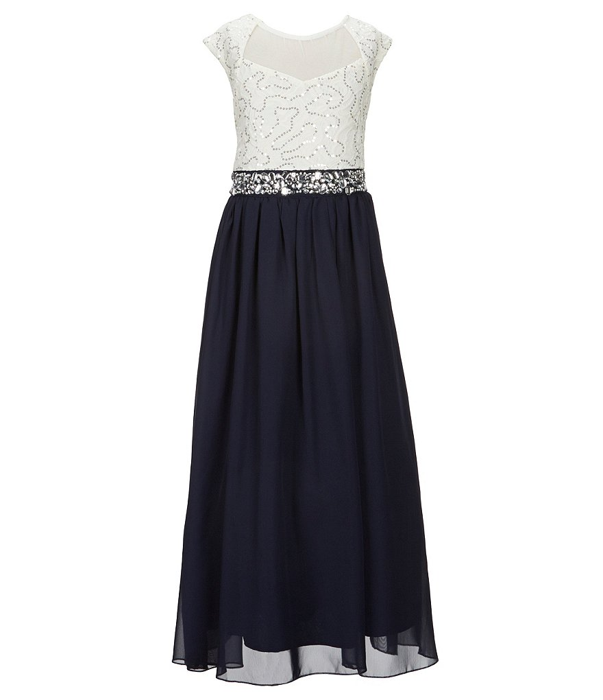Xtraordinary Big Girls 7-16 Sequin Lace/Chiffon Long Dress
