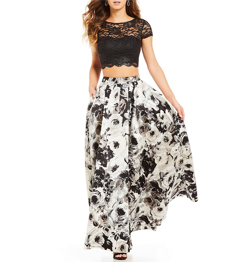 Xtraordinary Cap Sleeve Lace Top with Floral Skirt Two-Piece Dress