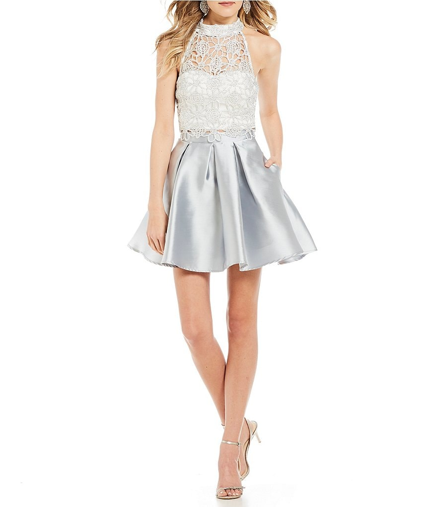 Xtraordinary Chain-Lace Top with Satin Skirt Two-Piece Dress