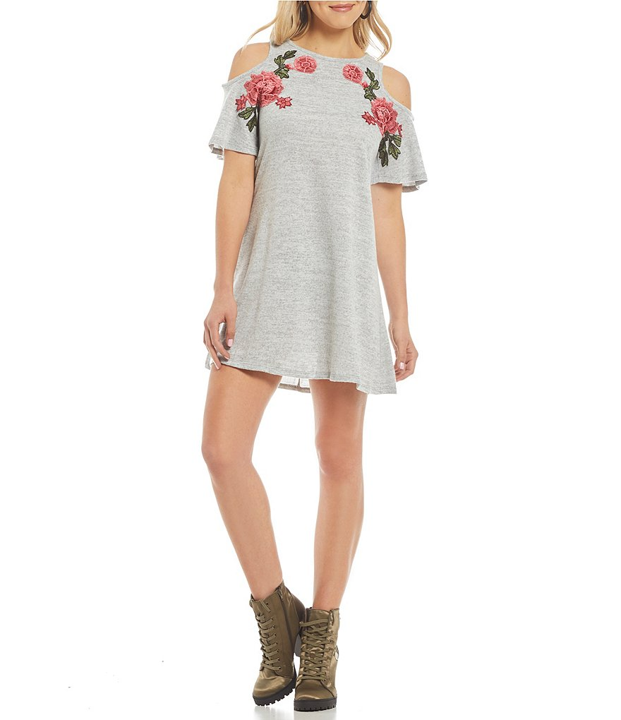 Xtraordinary Cold Shoulder Floral-Embroidered Shift Dress